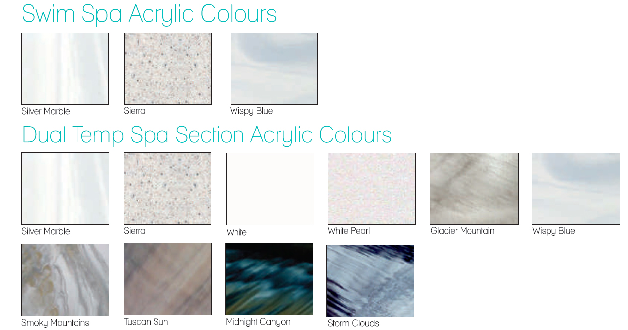 Acrylic Shell and Cabinet colour options for our TidalFit Swim Spas